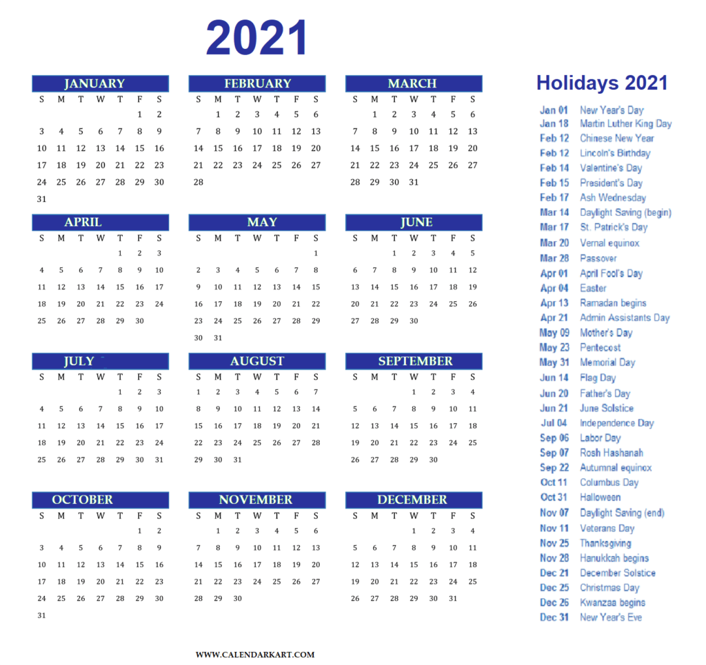 Year At A Glance Calendar 2021 with Holidays