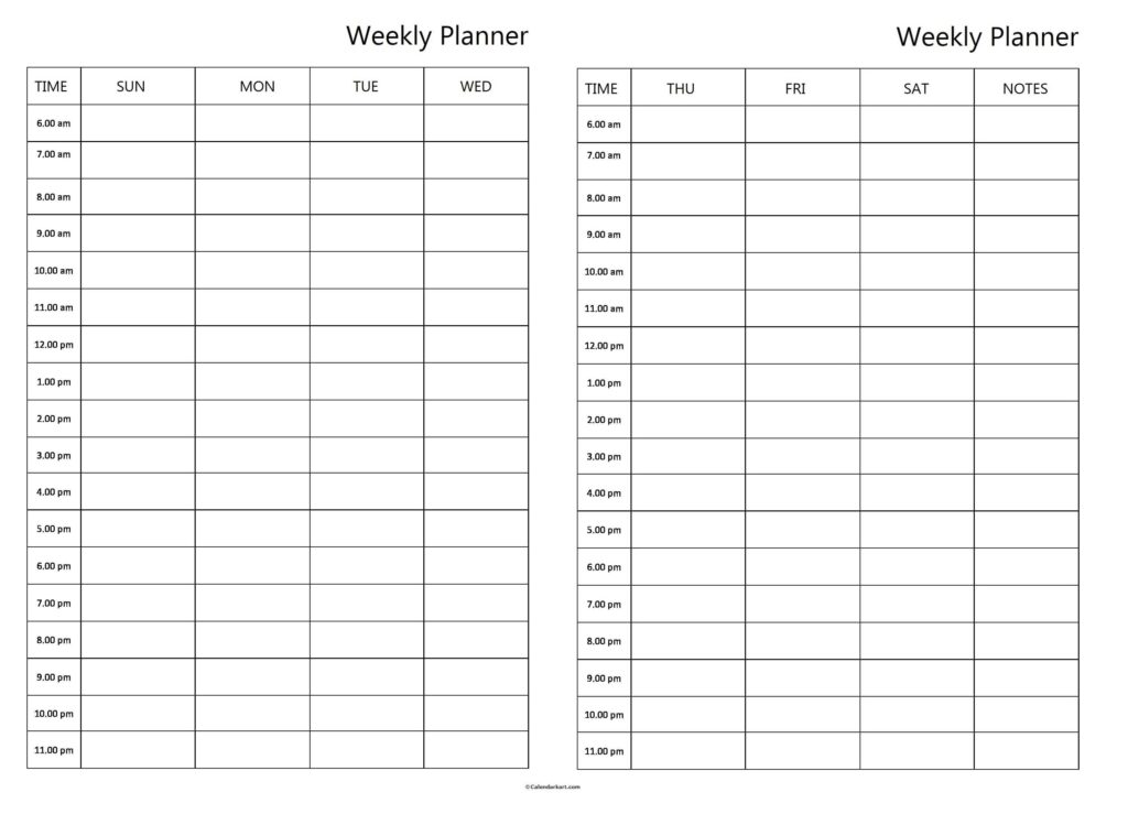 Two Page Weekly Planner