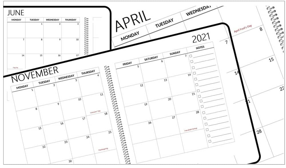 2 Page Monthly Calendar