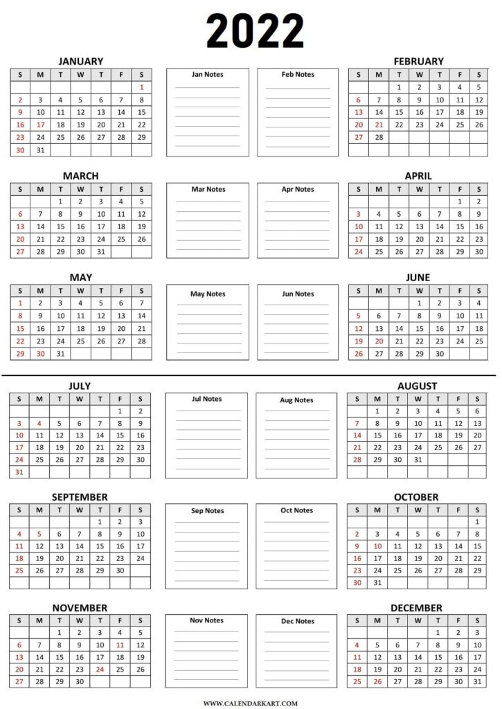 2022 Calendar on 2 Pages