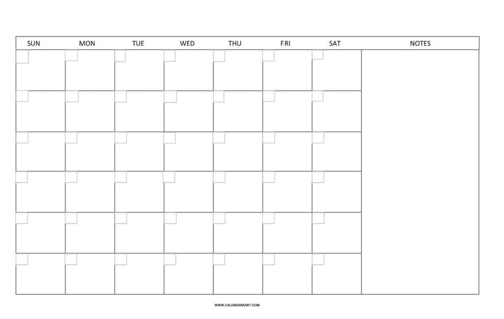 Blank Calendar Landscape Layout
