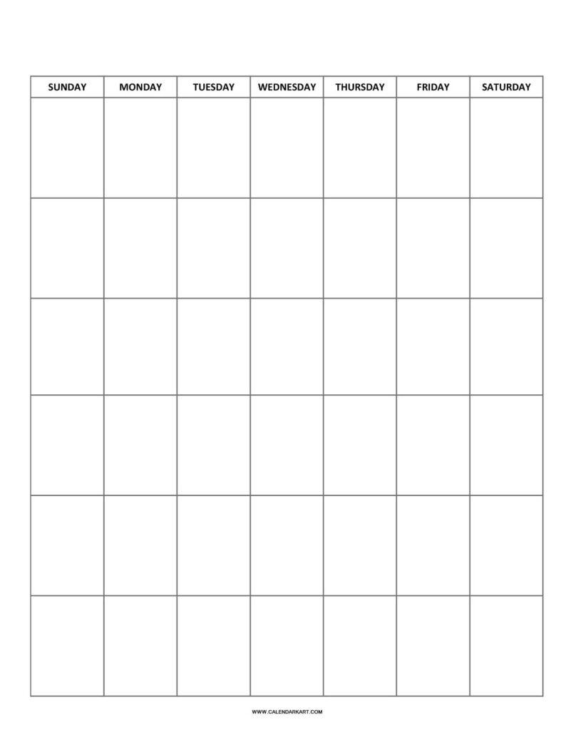 Blank Calendar Vertical Layout