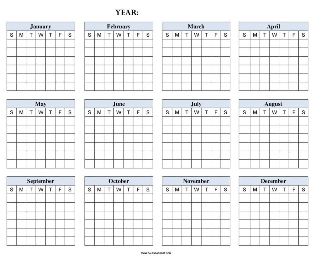 Blank Year at a Glance Calendar