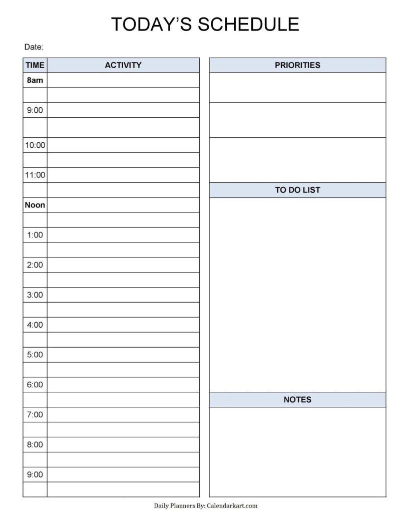 Daily Schedule Light Blue
