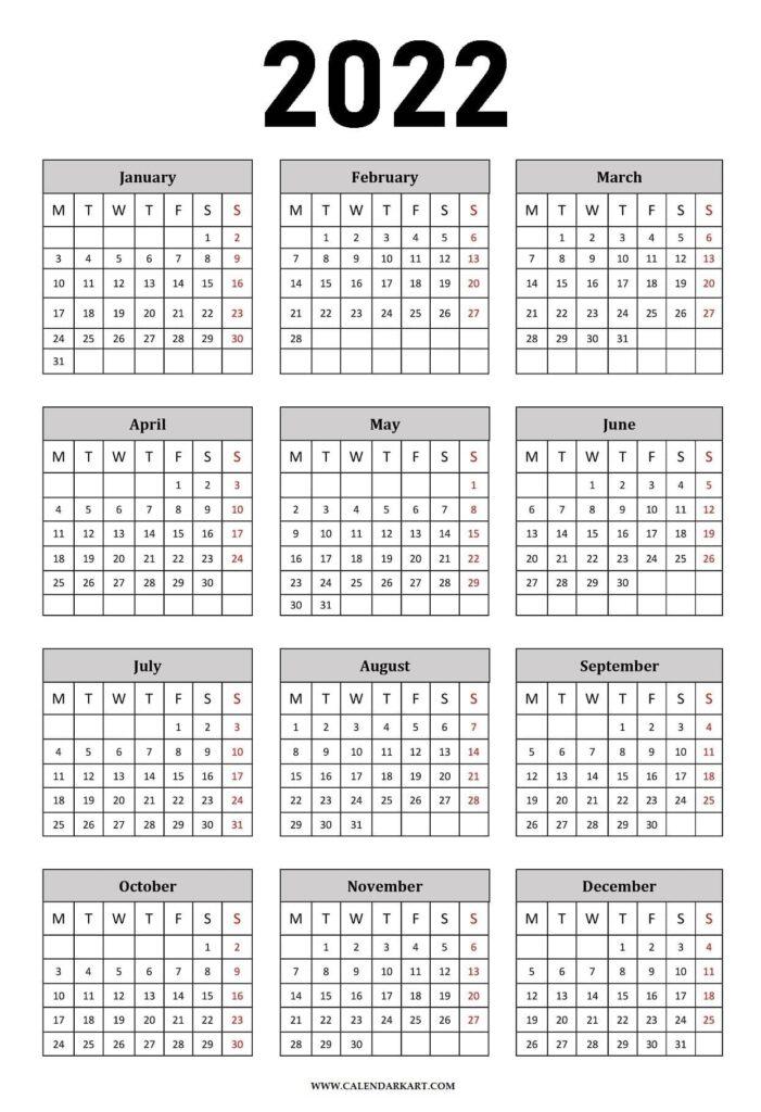 Year At A Glance Calendar 2022 Portrait