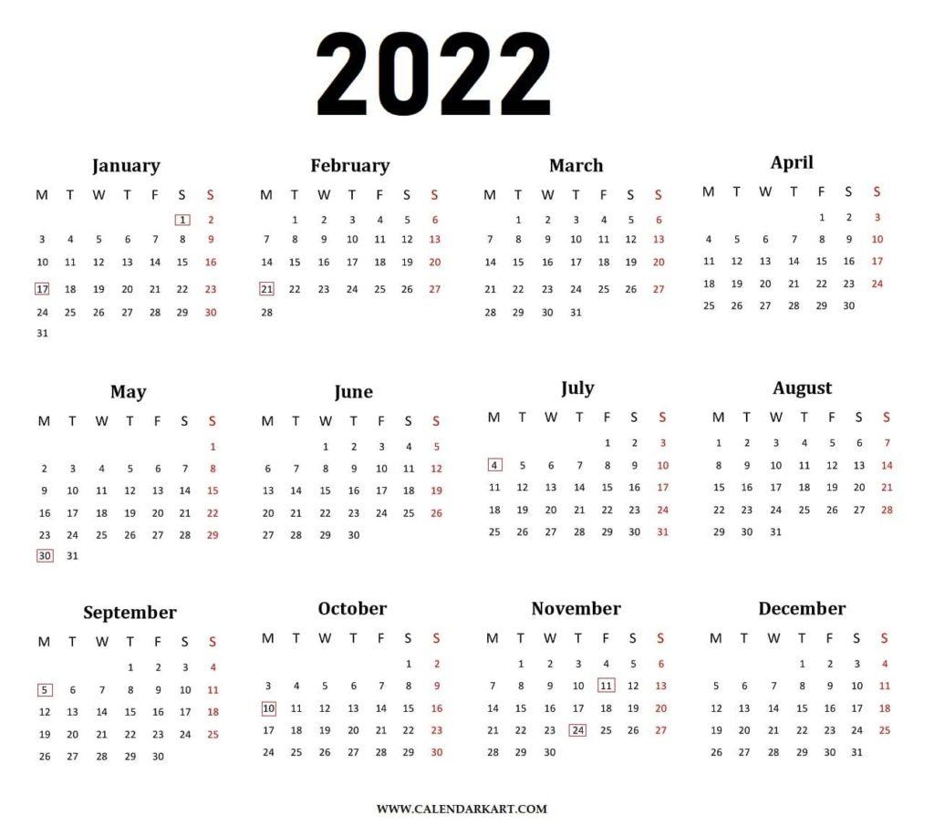 Yearly Calendar 2022 Horizontal