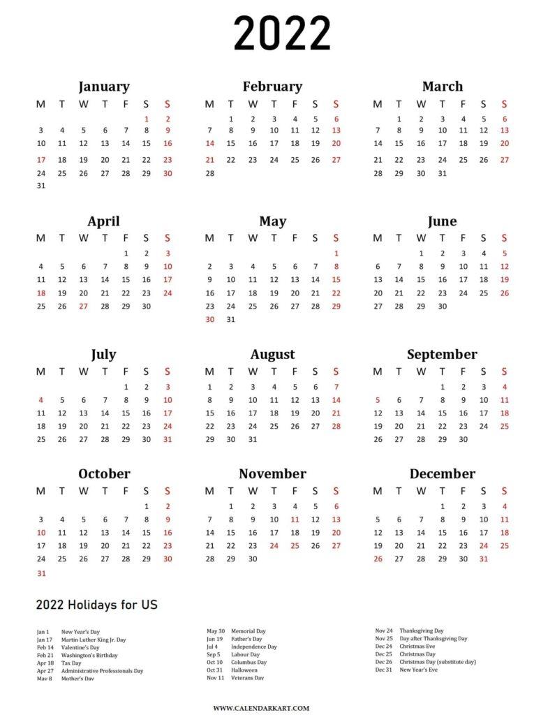 Yearly Calendar 2022 Vertical